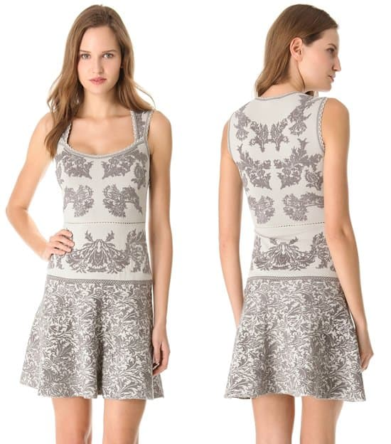 Zac Posen_Jacquard Full Skirt Dress_grey