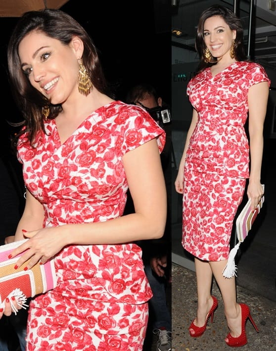 Kelly Brook wearing a floral frock that brought out the gorgeous color of her hair
