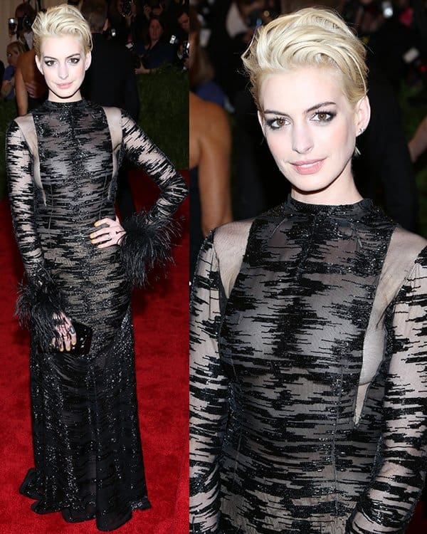 Anne Hathaway arrives at the PUNK Chaos to Couture Costume Institute Gala at The Metropolitan Museum of Art on May 6, 2013