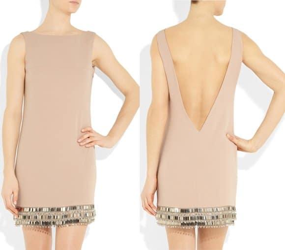 Azzaro Leelo Embellished Open-Back Crepe Mini Dress