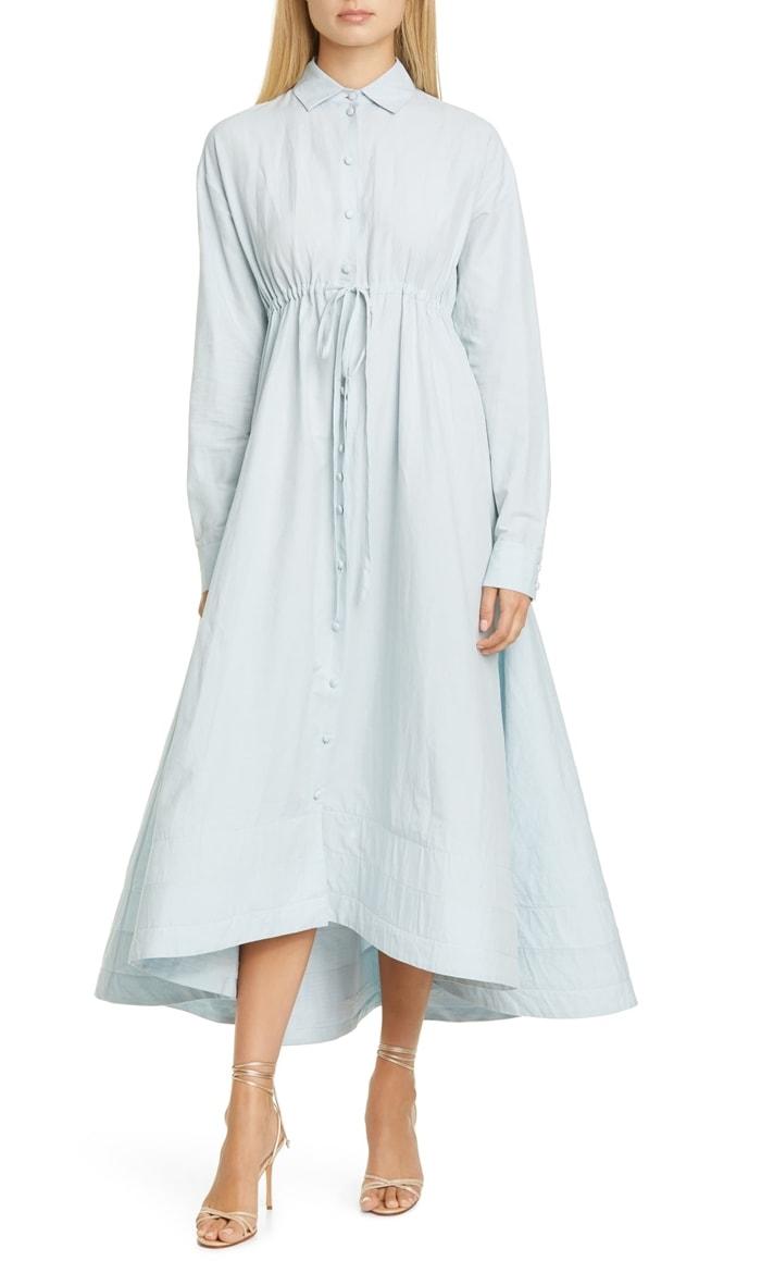 Brock Collection Tie Waist Long Sleeve Cotton & Linen Maxi Dress