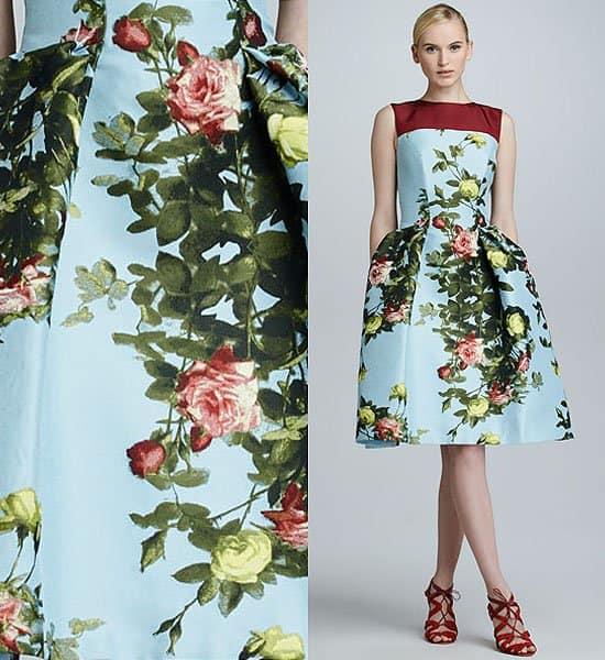 Carolina Herrera Floral Jacquard Full Skirt Dress