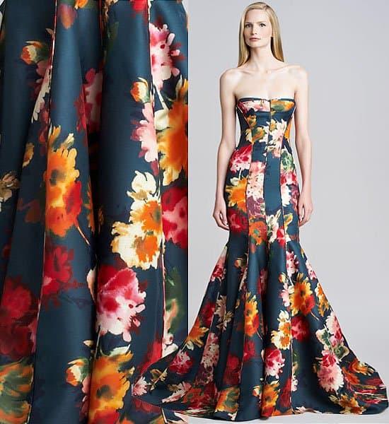 J. Mendel Floral Gazar Strapless Gown