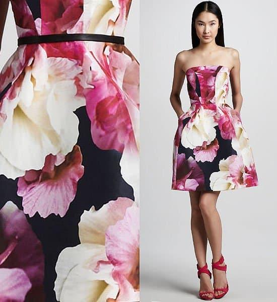 Monique Lhuillier Floral Print Structured Dress