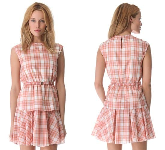 No 21 Pink Plaid Dress with Belt
