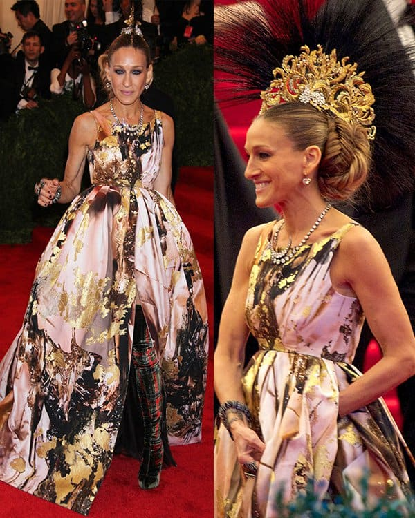Sarah Jessica Parker arrives at the PUNK Chaos to Couture Costume Institute Gala at The Metropolitan Museum of Art on May 6, 2013