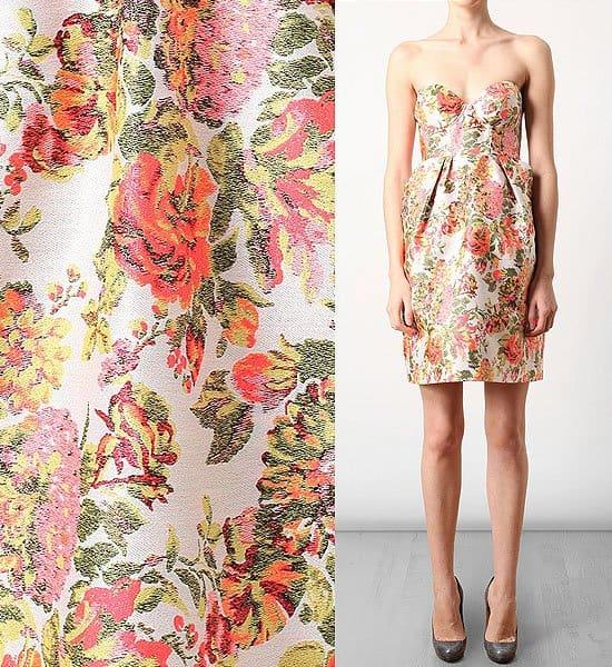 Stella McCartney Fletcher Floral Jacquard Bustier Dress