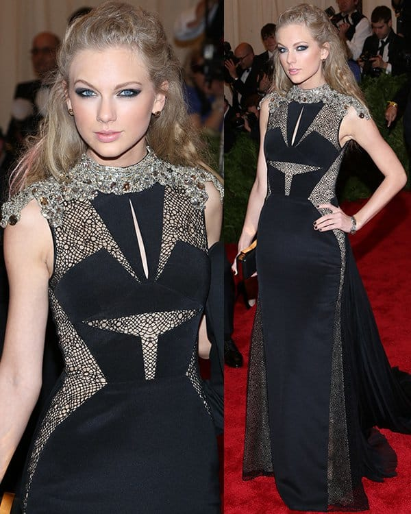 Taylor Swift arrives at the PUNK Chaos to Couture Costume Institute Gala at The Metropolitan Museum of Art on May 6, 2013