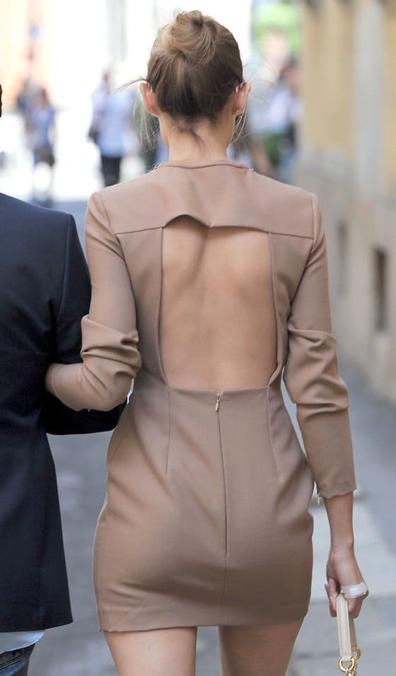 Bianca Balti sporting a back-baring number while out and about in Milan