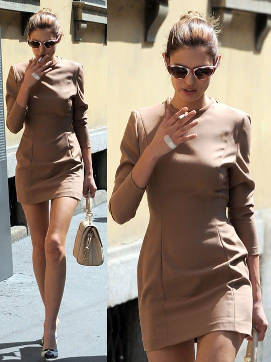 Bianca Balti out and about in Milan in a back-baring dress on May 9, 2013
