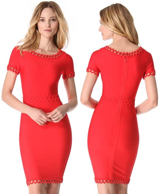 Herve Leger Ariana Diamond Open Applique Dress in Poppy Coral