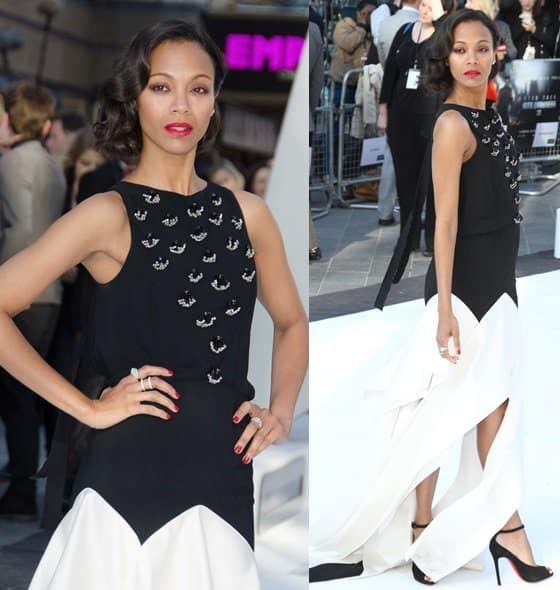 Zoe Saldana styled her Vionnet Pre-Fall 2013 gown with Christian Louboutin 'Rampoldi' ankle strap heels