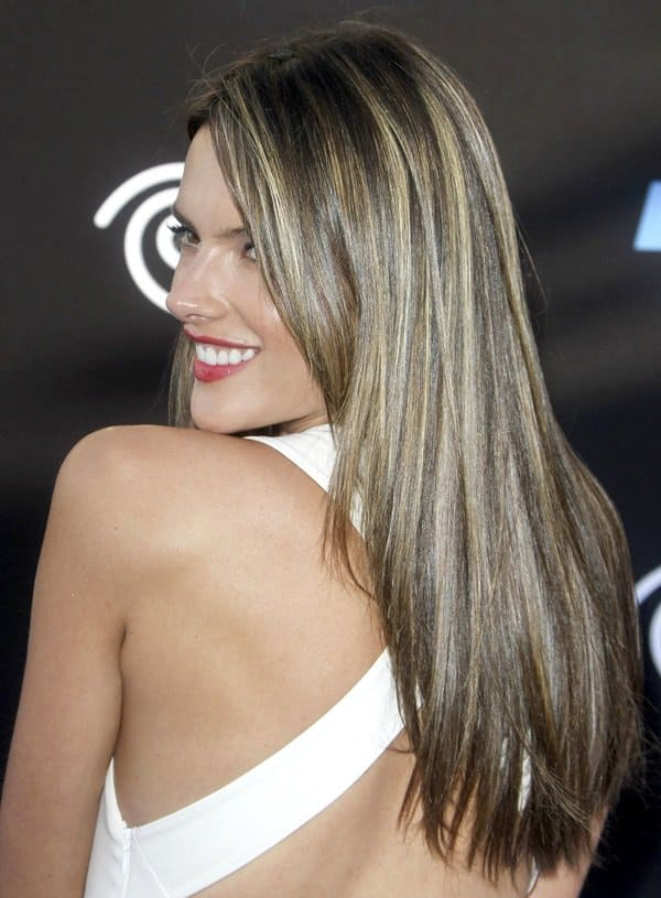 Dazzling Alessandra Ambrosio in a long white dress at the premiere of Disney Pixar's 'Monsters University' in Los Angeles on June 17, 2013