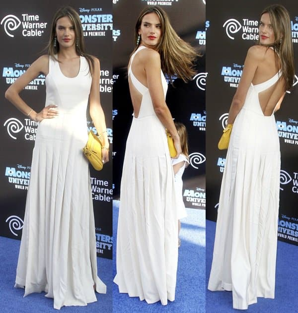 Alessandra Ambrosio wearing a Robert Rodriguez techno crepe pleated gown
