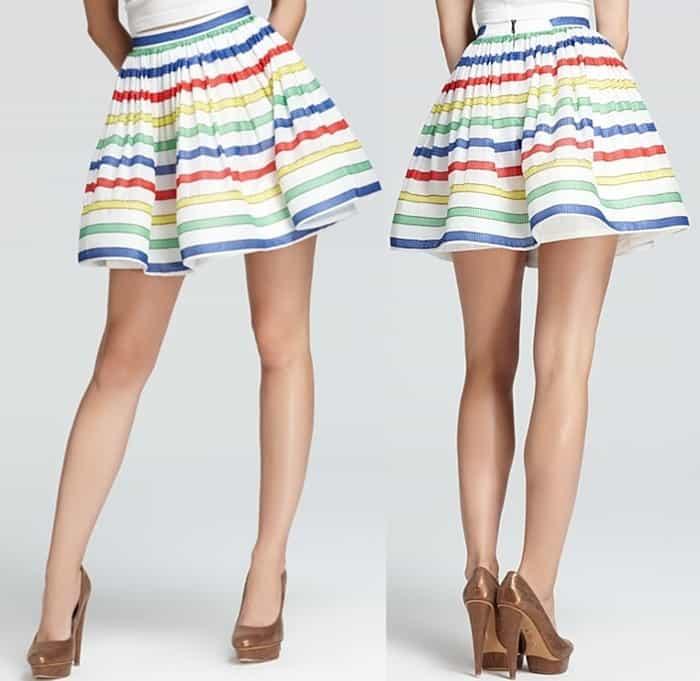 Alice Olivia Skirt — Maryna High-Waist Stripe