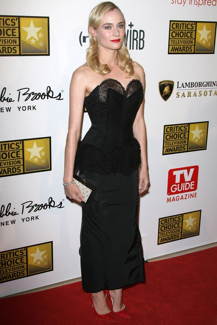 Diane Kruger in black Nina Ricci dress at the Broadcast Television Journalists Association's (BTJA) 3rd Annual Critics' Choice Television Awards held at the Beverly Hilton Hotel in Beverly Hills on June 10, 2013