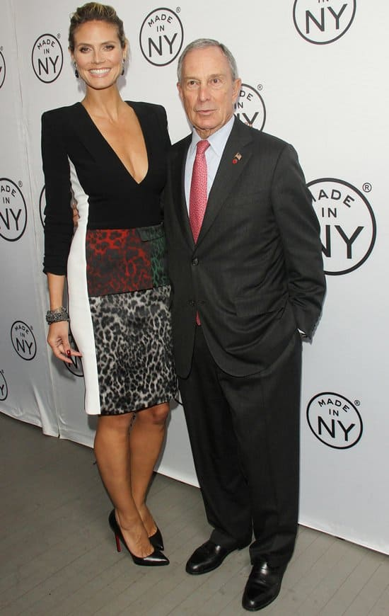 Heidi Klum and Mayor Michael Bloomberg posing for the cameras at the 8th Annual Made in NY Awards at Gracie Mansion in New York City on June 10, 2013