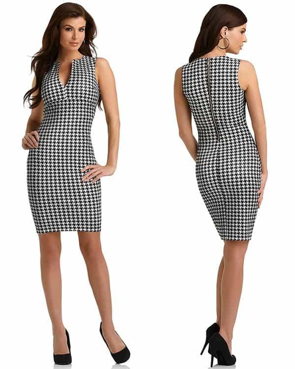 Kardashian Kollection Houndstooth Sheath Dress