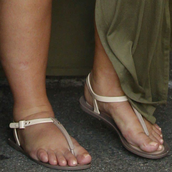 Kim Kardashian wearing Fendi jelly thong sandals