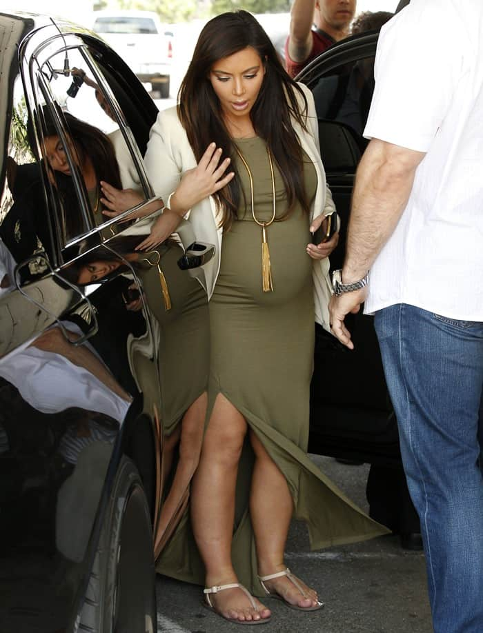 Kim Kardashian on her way to have lunch with a friend at Casa Vega in Sherman Oaks, California on June 12, 2013