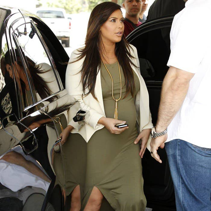 Kim Kardashian wearing Topshop's double split maxi dress