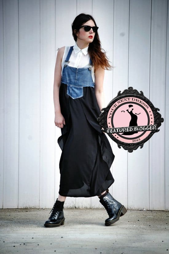 Laura's sleeveless button-down top and lace-up boots