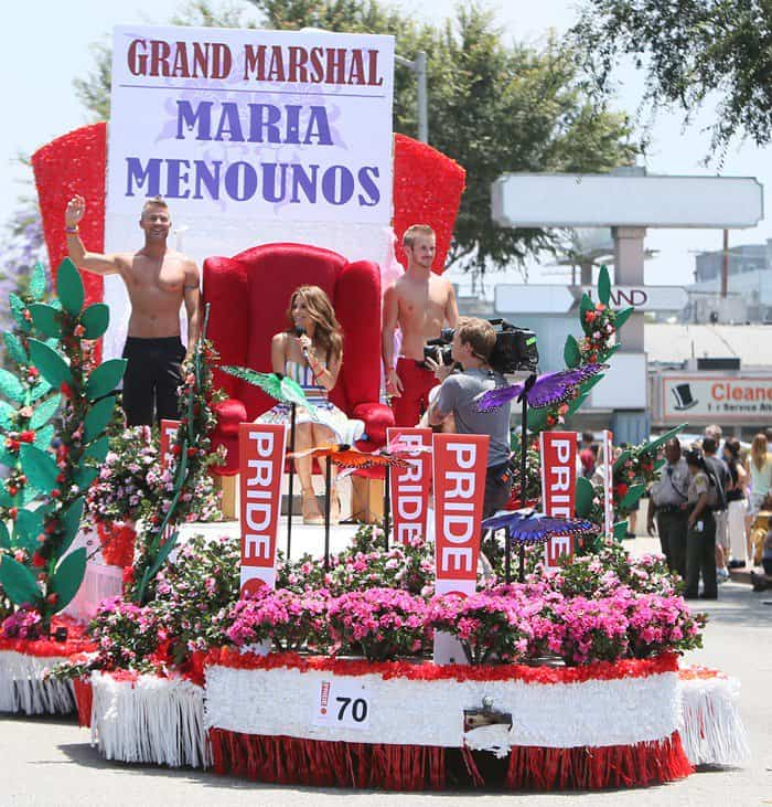 Extra host Maria Menounos as the grand marshal of the 2013 LA Gay Pride Festival in West Hollywood, California on June 9, 2013