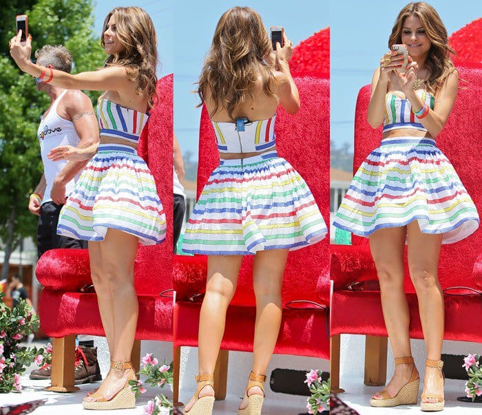Maria Menounos living up to the festive event in an Alice + Olivia top and skirt combo