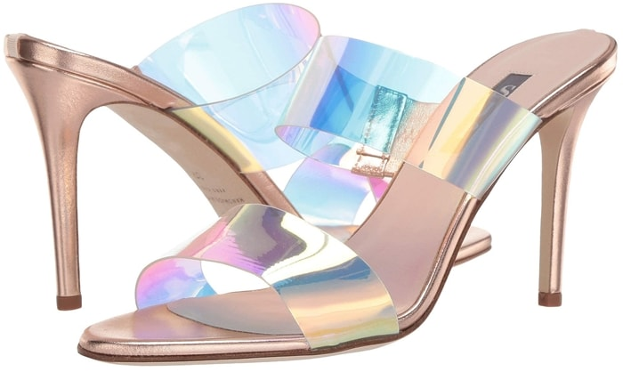 Set atop a slinky stiletto heel, these metallic mules from Sarah Jessica Parker have iridescent PVC and vinyl top straps