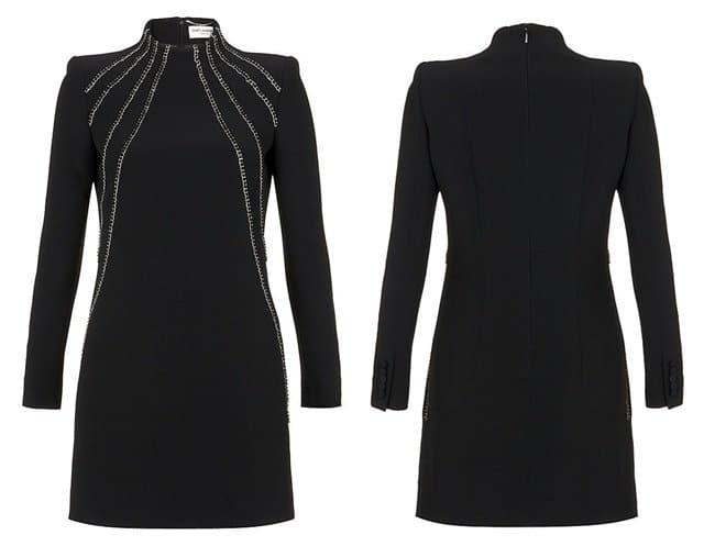 Saint Laurent Embellished Cady Dress in Black