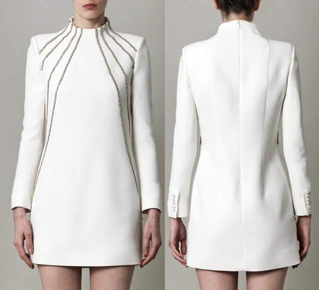 Saint Laurent Chain-Embellished Cady Dress in White