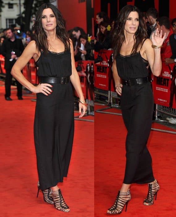 Sandra Bullock in a Victoria Beckham dress at the UK premiere of 'The Heat' at the Curzon Mayfair in London on June 13, 2013