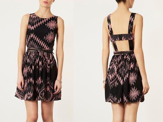 Topshop Ikat Print Pinafore Dress