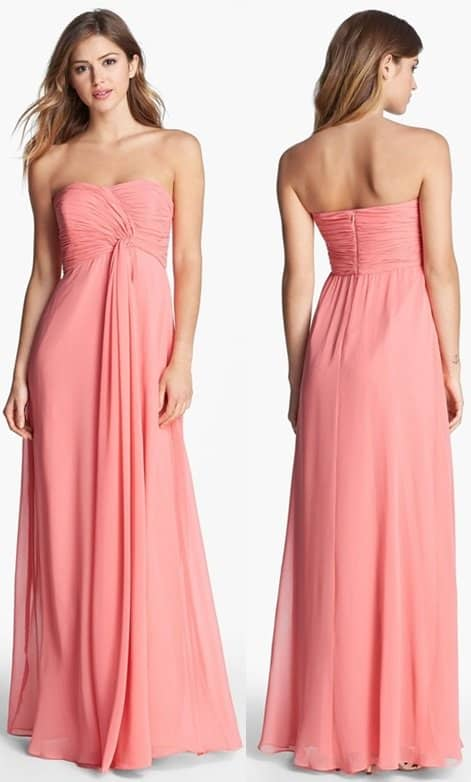 Donna Morgan Lisa Strapless Front Draped Gown
