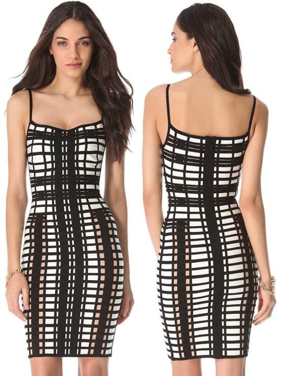 herve leger checkered dress-horz