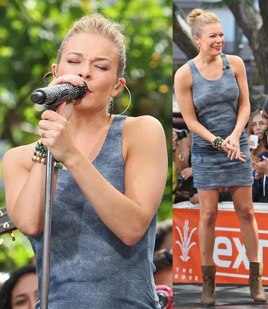 LeAnn Rimes wearing a figure-skimming tie-dyed tank dress for her appearance on Extra on June 5, 2013