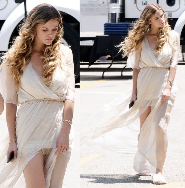 """Brooklyn Decker Wedding: Brooklyn Decker Films """"Stretch"""" In Gorgeous Sheer Dress"""