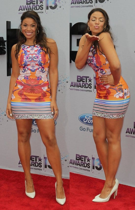 Jordin Sparks showing off her enviable curves at the 2013 BET Awards held at Nokia Theatre L.A. Live in Los Angeles on June 30, 2013