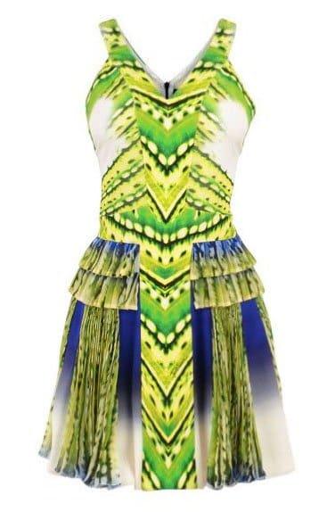 Just Cavalli Fluorescent-Print Plisse Dress