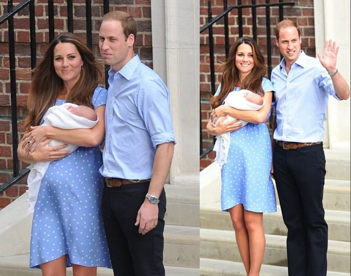 The Duke and Duchess of Cambridge presenting Baby Cambridge in front of St. Mary's Hospital in London on July 23, 2013