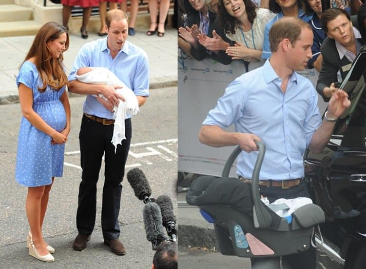 Kate channeled her late mother-in-law's postmaternity style in a baby blue polka-dot dress by Jenny Packham