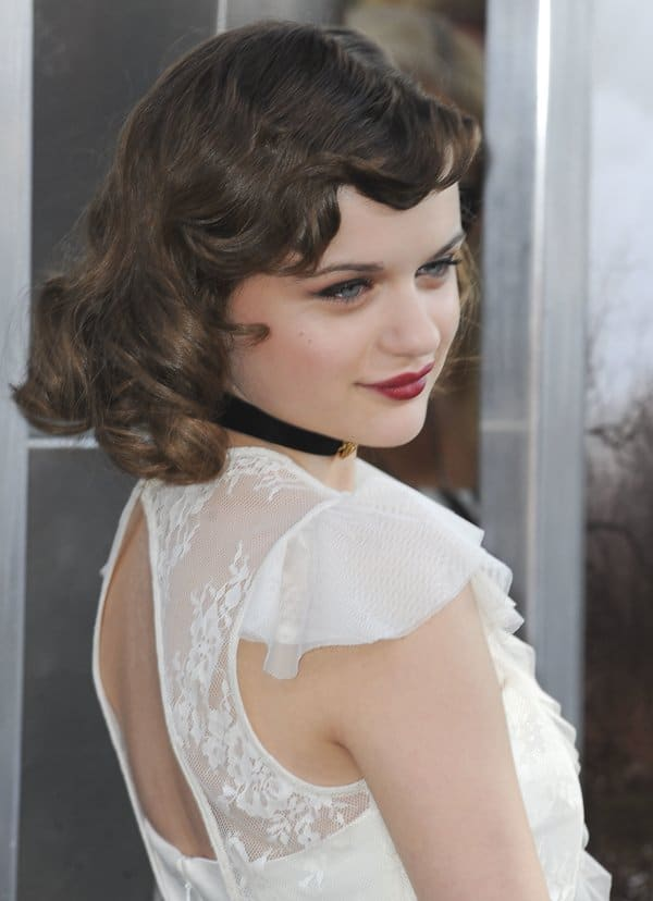 Joey King wearing a lace dress from Pearl by Georgina Chapman of Marchesa