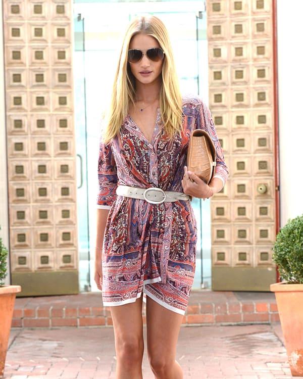 Rosie Huntington Whiteley Flaunts Mile Long Legs In Shirtdress