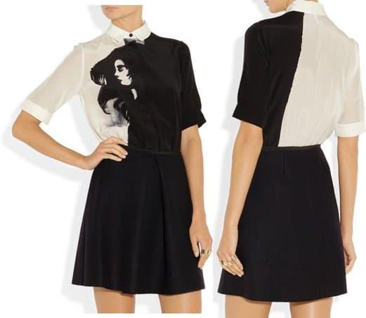Victoria Beckham Printed silk and wool shirt dress-horz
