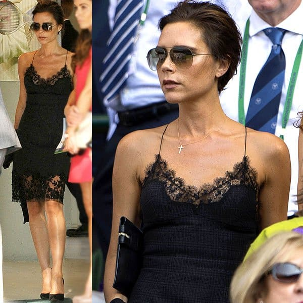 Victoria Beckham wears a slip dress at theWimbledon Tennis Championships 2013 in London, England, on July 7, 2013