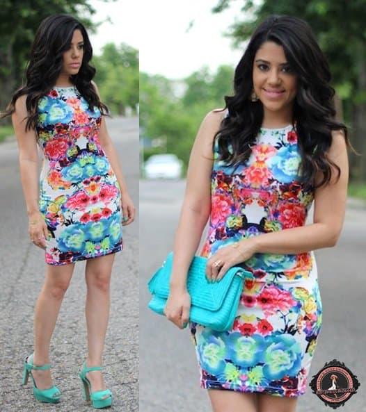 Naty's colorful bodycon mini dress