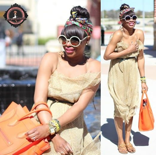 Monica amps up her ruffled dress with bright accessories