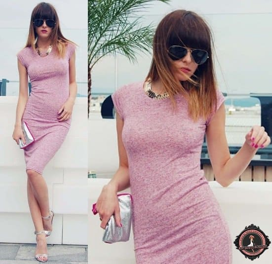 Carolina looks polished in a simple pink dress with silver dress