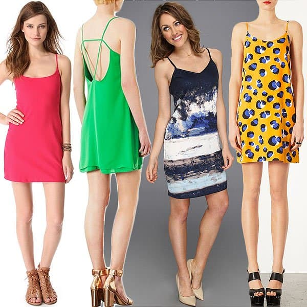 colorful and printed slip dresses