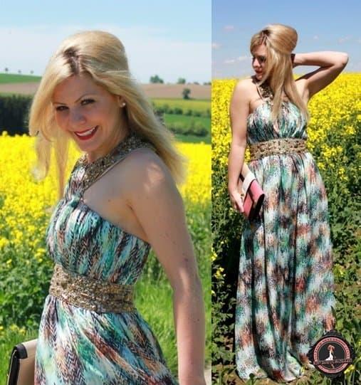 Fleurani's printed and beaded maxi dress